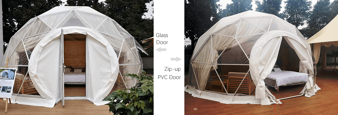 two styles of the dome tent door
