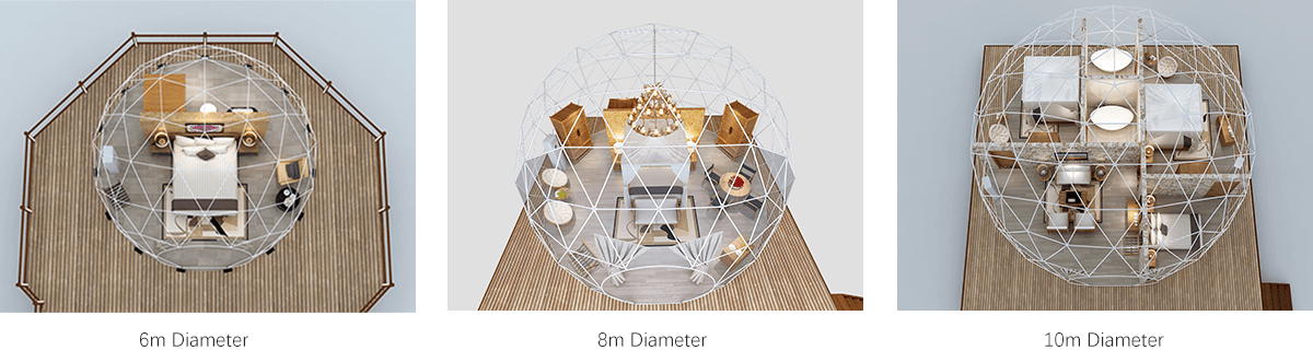 Interior layout of the geodesic dome tent