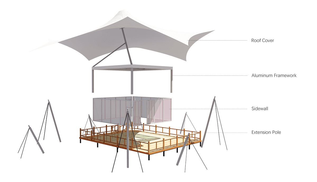 Tension Membrane Roof Glamping Tent Aluminum Structure Framework