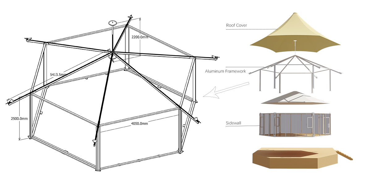 Hexagonal Lodge Tent Framework