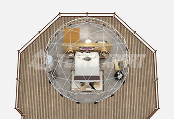 6m Diameter geodesic dome tent interior layout