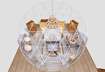 8m Diameter geodesic dome tent interior layout