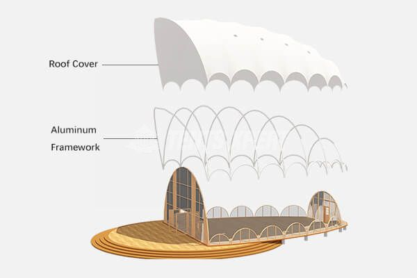 semi-permanent cocoon tent house structure framework